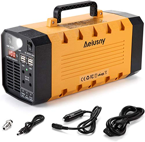 Aeiusny Portable Solar Generator 400W 288WH UPS Power Station Emergency Battery Backup Power Supply Charged by Solar/AC Outlet/Car for CPAP Laptop Home Camping