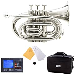 Bb pocket trumpet with 7C mouthpiece 0.46 inch bore and 3.75 inch bell, comfortable white faux mother of pearl inlaid buttons Phosphorus copper used on lead mouth pipe (found on expensive trumpets) & smooth action valves Includes: Cecilio 92-D chroma...