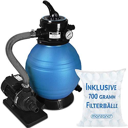 Monzana Sandfilter Sandfilteranlage 10 m³/h - Poolfilter Filteranlage Filterkessel inkl. 700g Filterbälle