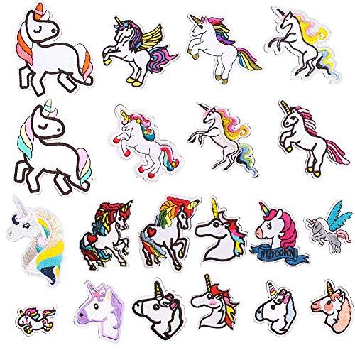 Patch Sticker, Sunshine-Smile 20 Pcs Unicornio Apliques, Parches Ropa Termoadhesivos, Cute DIY Ropa Parches para la camiseta Jeans Ropa Bolsas, Parche de Ropa (Unicorn)