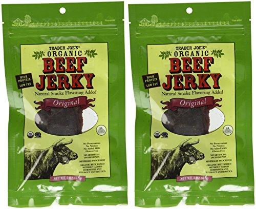 2 Packs Trader Joe's ORGANIC Beef Jerky 3 Oz with Natural Smoke Flavoring Added Original Flavor