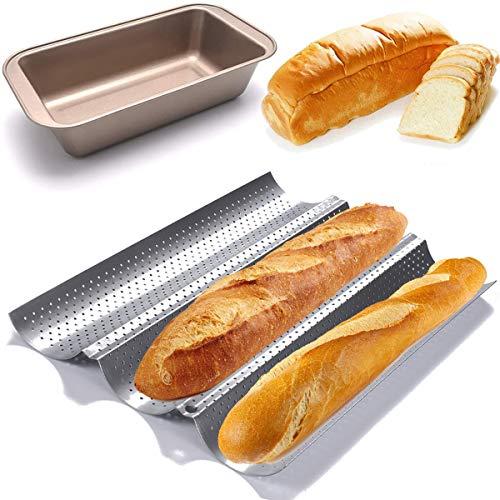 QAQGEAR Baguette Backform Backblech Baguette Pan Antihaft-perforiert Karbonstahl 3 Groove Waves Baguetteform mit Rechteckig Brotbackform für Backen Baguettes und Brot
