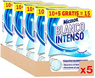 Micolor Toallitas Blanco Intenso 10+5D – Pack de 5, Total