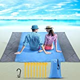 Yosemy Tapis de Plage, 210x200cm Couverture de Plage Anti Sable, Imperméable Pliable Tapis de...