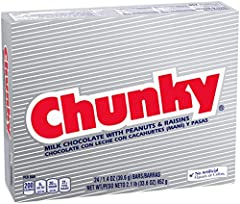 CLASSIC CHUNKY: You'll love the delicious taste of milk chocolate covering raisins and roasted peanuts in a chunky, chewy convenient bar! PERFECT FOR SHARING: 24 Chunky bars are individually wrapped, perfect for stocking stuffers, Christmas party fav...