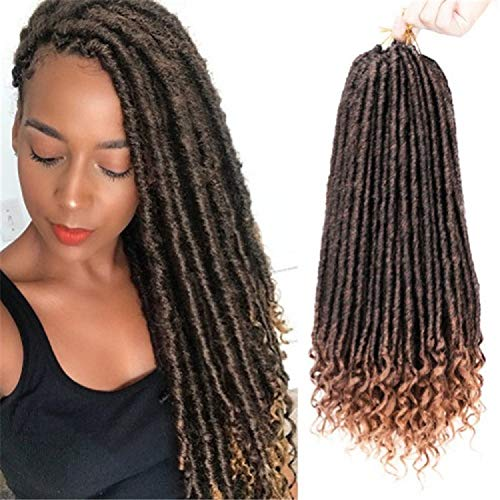 XSXZH Goddess Faux Locs Crochet Braids Hair, With Curly Ends,Synthetic Braiding Hair Extensions 6pcs/Lot 18inch (T1B-27)