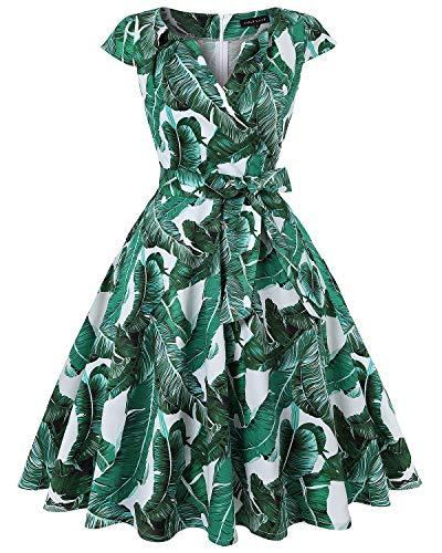 MINTLIMIT Damen V-Ausschnitt Kappenärmel Unique Wickelkleider Wickelkleider Vintage Flared Midi Kleider(Floral Grün,Größe XXL)