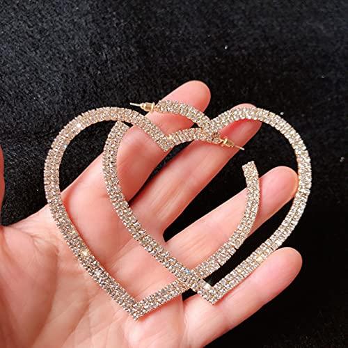 CXWK Pendientes de aro de Cristal de corazón Grande de Moda para Mujer Pendientes de Diamantes de imitación geométricos Regalos de joyería de declaración