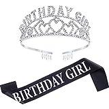Chengu Birthday Glitter Crown Girl Rhinestone Crystal Decor Headband with Birthday Beautiful Girl Sash (Silver)