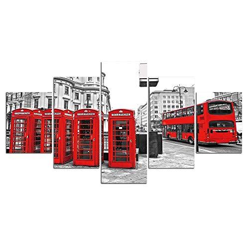 WKAH 5 Piezas Cuadro Lienzo Cabina Telefónica Lienzo Imágenes Decoración Moderna Impresión Hogar Decoración(100X55Cm)