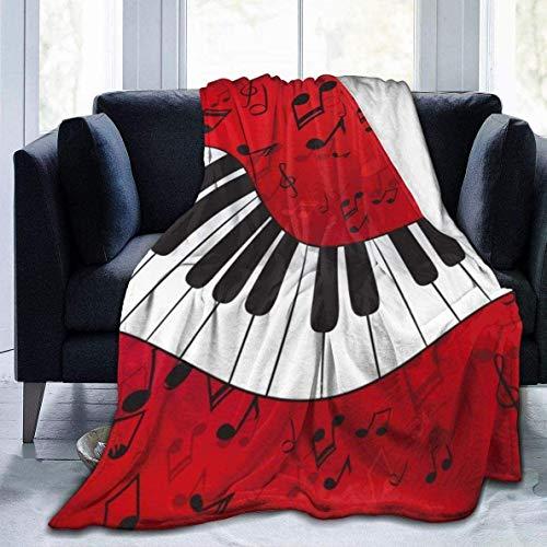 Manta cálida de música de Piano roja para Mujer, Manta de Lana para sofá, Manta de Cama de Invierno Ligera, 50 x 60 Pulgadas