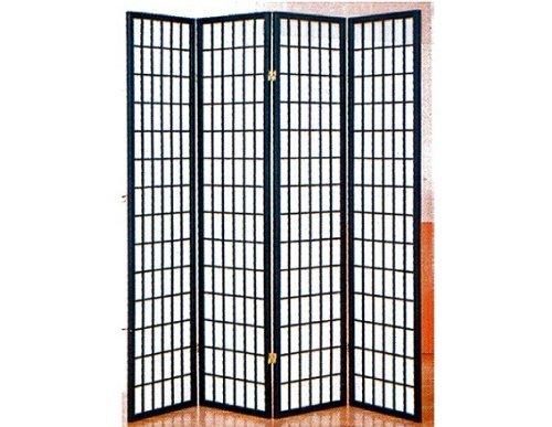 4 panel black room divider shoji screen by A&D