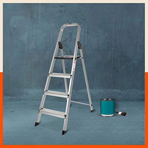 Bathla Advance Carbon - 4 Step Foldable Aluminium Ladder with Scratch Resistant Smart Platform and Sure-Hinge Technology (Black)