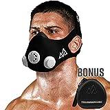 Máscara de entrenamiento 2.0 para correr y entrenamiento de resistencia a la respiración, máscara de elevación, máscara cardiovascular, máscara de resistencia para fitness, Large, Negro + funda, 1