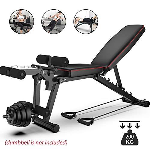 YLAN Banc de Musculation Pliable Multifonctions Lit Sit-Ups avec Extension Jambe Leg Curl pour...