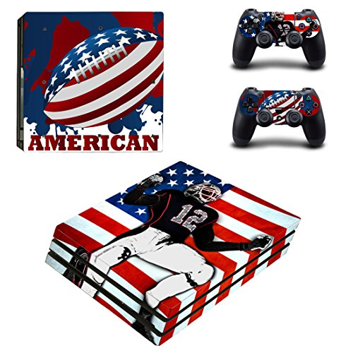 L'Amazo Best Sport Fans American Football Basketball Baseball PS4 Pro Designer Skin Game Console System p 2 Controller Decal Vinyl Protective Covers Stickers for Playstation 4 Pro (USA Patriot)