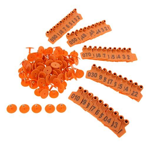 B Blesiya 100 PCS Vache/Bétail d'oreille étiquettes/Oreille Balises pour bétail avec Numéros 001–100 - Orange