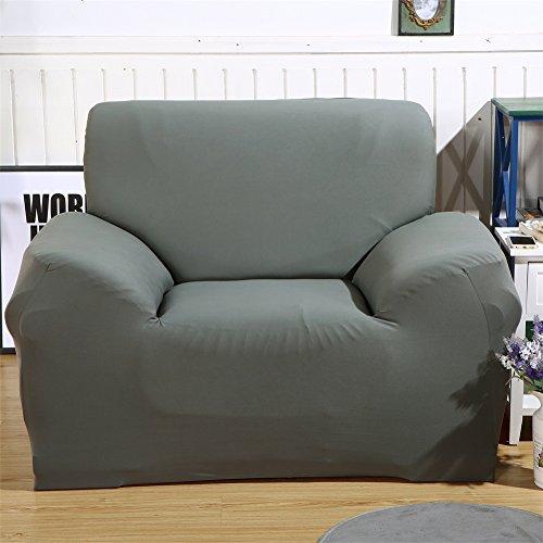 ele ELEOPTION Sofa Überwürfe Sofabezug Stretch elastische Sofahusse Sofa Abdeckung in Verschiedene Größe und Farbe (1 Sitzer für Sofalänge 90-130cm, Grau)