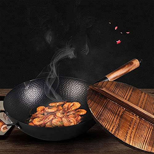 FGDFGDG Wok en Acero al Carbono Martillado a Mano con Tapa de Madera con Mango de Madera - sartén para Chino, japonés y cantonés Plato de Wok de Wok Wok woks y Stead-Fry sartenes