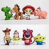8Pcs Toy Story 4 Cute Woody Buzz Lightyear PVC Figura De Acción Llavero Jessie Rex Mr.Potato Alien L...
