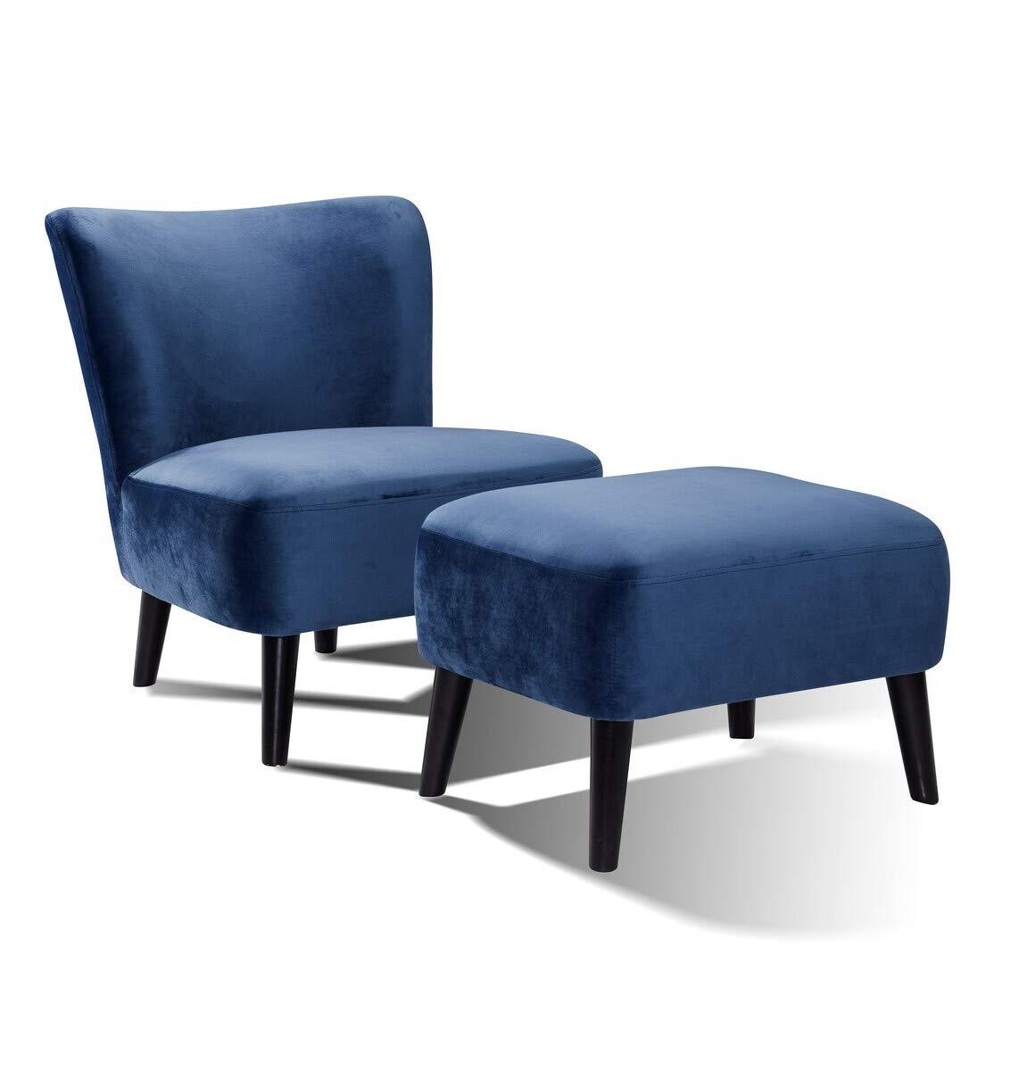 MONTEMAGGI Poltrona in Tessuto Blu e Gambe Nere da Soggiorno 58x68x75 cm