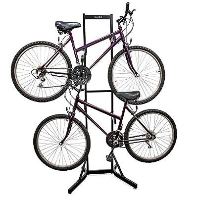 RaxGo Bike Storage Rack, 2 Bicycle Garage Floor Stand, Adjustable, Freestanding, Adjustable Hooks, For Mountain & Road bicycles, Universal For Indoor Use