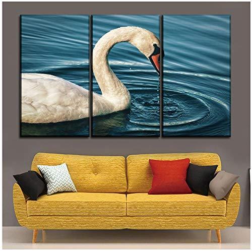 Zhaoyangeng Wall Art Canvas Decoratieve Schilderij Mute Dier Zwaan maken Golven Afbeeldingen voor Woonkamer Print Type- 50X70Cmx3 Geen Frame
