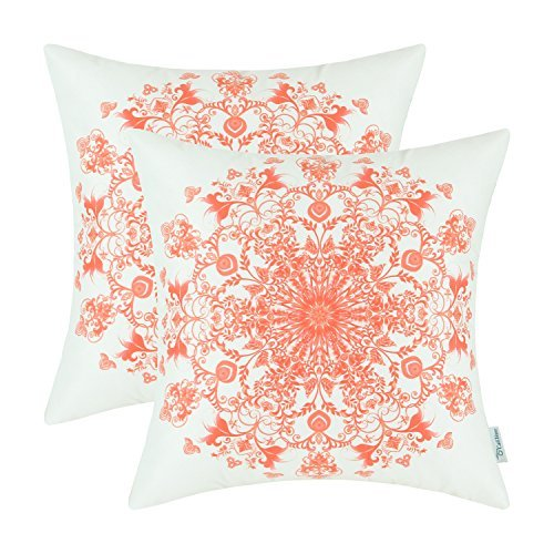 Juego de 2 fundas de almohada de forro polar acogedoras para sofá, cama, sofá, mandala vintage, copo de nieve, floral, 45,7 x 45,7 cm, color coral