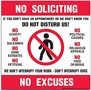 (4 Pack) No Soliciting No Excuses Decal - 6