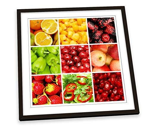 Canvas Geeks Póster cuadrado de cocina, diseño de frutas y verduras enmarcadas, marco negro, 35 cm x 35 cm