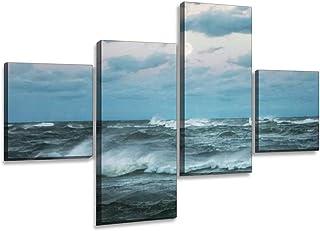 Watercolor Painting Coastal Scenery Sea Shore Beach Stormy Sea Nautical Home Decor 5 x 7 Ocean Office Decor