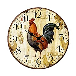 Home Decor Clock, Colorful Retro Arabic Numerals Style,Silent Non -Ticking Quartz Wooden Wall Clock, Large Wall Art Decorative for Kitchen,Living Room,Kids Room and Coffee Decor (12 Inch, Rooster)