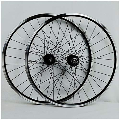 HWL Montaña Ruedas de Bicicleta 26 Pulgadas, Pared Doble Aleación de Aluminio Disco/V-Brake Ciclismo Wheels Borde de 32 Orificios 7/8/9/10 Cassette (Color : Black, Size : 26inch)