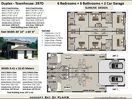 Narrow Duplex - Townhouse Concept House Plans -Slimline Dual Family Floor Plan: Full  Architectural Concept Home Plans includes detailed floor plan and ... Floor Plans Book 197) (English Edition)