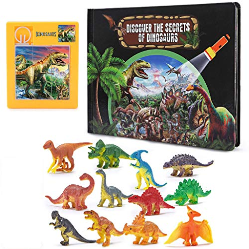JIACUO 3D Explore The Mystery of Dinosaurs Book Animal Dinosaur Model Toys Gift for Kid