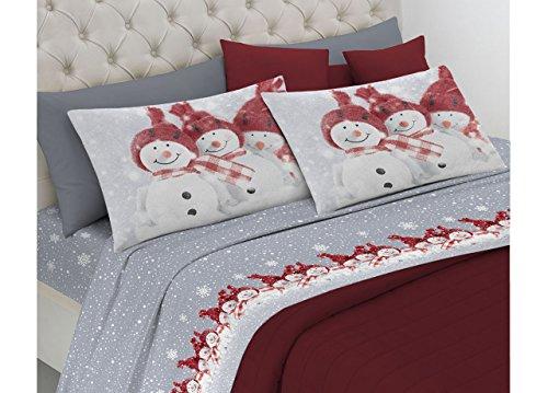 BIANCHERIAWEB Completo Lenzuola in Morbida Flanella Disegno Snowman 2 Piazze matr.Le Rosso