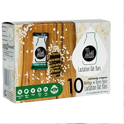 Barra de avena vegana para lactancia | Apoyo a las madres que amamantan | 10 barras de avena envueltas individualmente por mrs Milk (sabor a moringa y manzana)
