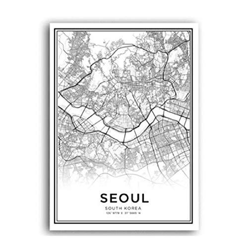 XWArtpic Koreanische Karte Sareureuk Definition Skandinavischen Wandkunst Leinwand Malerei Poster und Drucke POP Bilder für Wohnzimmer Dekor A 30 * 40 cm