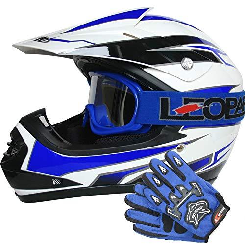 Leopard LEO-X16 Kinder Motocross Helm Blau S (53-54cm)& Handschuhe & Brille Kinder Quad Bike ATV Go Karting Helm