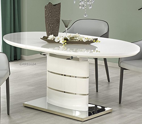 Mesa de comedor ovalada extensible – 140 – 180 cm x 90 cm x 76 cm – Blanco