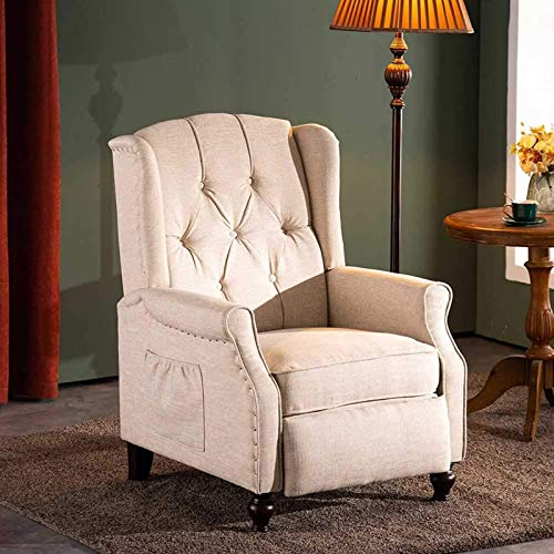 B BAIJIAWEI Recliner Wingback Chair - Tufted Arm Chair Recliner - Massage Recliner Chair with Heat - Fabric Push Back Recliner with Remote Control, Heating Function, Adjustable Backrest