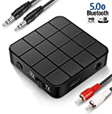 COMBLU Bluetooth Adapter, Bluetooth Transmitter Receiver 5.0, 2-in-1 Bluetooth Adapter Mini Portable RCA
