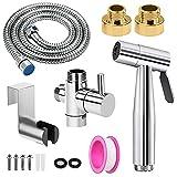 Kit Douchette WC, Douchette Toilette WC, kit hygiene wc, VENTCY Haute qualité Kit de pulvérisation de Toilette Douchette en acier inoxydable Avec Tuyau de 1,5 m et Support, Adaptateurs de G1/2 à G3/8