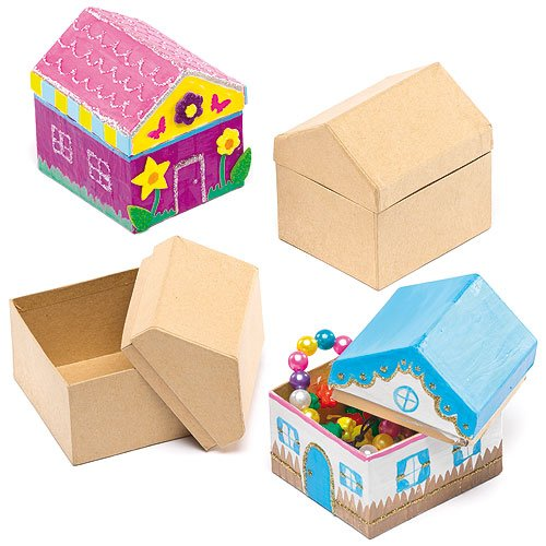 Baker Ross Pappschachteln Haus für Kinder zum Bemalen und Verzieren (4 Stück)