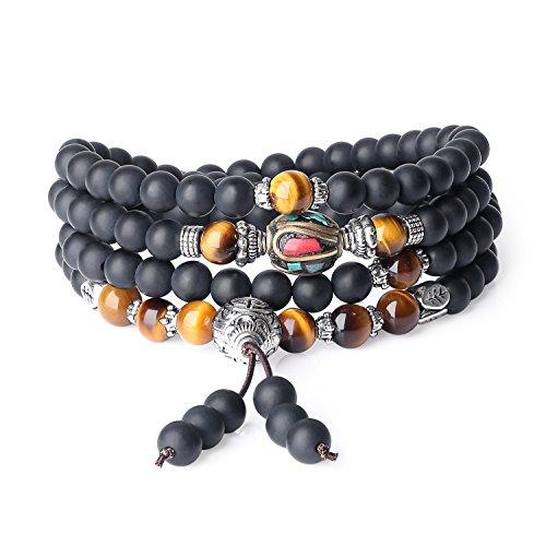 bracciale uomo etnico COAI Bracciale con 108 Perle Mala in Onice Opaca e Occhio di Tigre Marrone