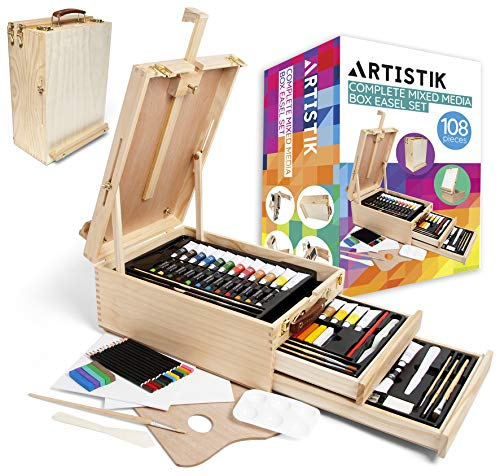 Adjustable Wooden Table Sketchbox Easel Portable 3-Drawer Wooden Artist Easels for Sketching and Painting with Desktop Storage, Solid Beechwood