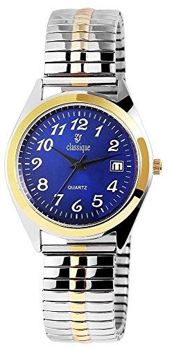 Classique Herren – Uhr Zugarmband Datumsanzeige Metall Analog Quarz 2700016 (Silberfarben/Goldfarben/Blau)