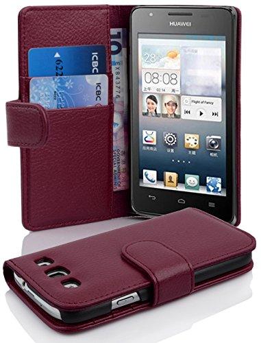 Cadorabo Hülle für Huawei Ascend G525 / G520 - Hülle in Bordeaux LILA – Handyhülle mit Kartenfach aus struktriertem Kunstleder - Hülle Cover Schutzhülle Etui Tasche Book Klapp Style
