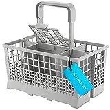 SANAWATEC Cestello per posate Cutlery Basket, adatto per molte lavastoviglie e lavastoviglie, maniglia con scarico dell'acqua integrata, 24 x 13,6 cm, plastica e griglia extra stabile, colore: grigio