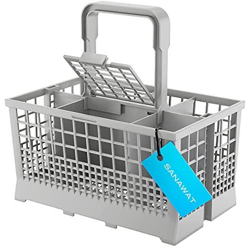 SANAWATEC Cutlery Basket - Cesto para cubiertos (apto para muchos lavavajillas y lavavajillas, asa con desagüe integrado de 24 x 13,6 cm, plástico y rejilla inferior extraestable, color gris)